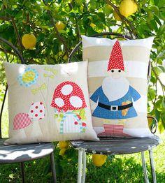Rosies Garden & the Gnome Applique cushion por claireturpindesign