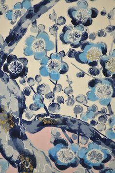 VINTAGE SILK WEDDING FABRIC:Handpaint Colourful Plum Blossom@U65