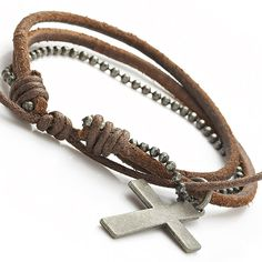 Brown Leather Hellboy Style Metal Cross Leather Bracelet for Men