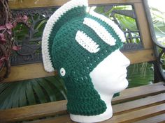 3d28ee79c57 Michigan State Spartans Sparty beanie hat face by WoolieMonkey