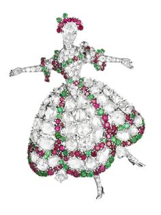 Van Cleef & Arpels brooch,1942   Platinum, diamonds, rubies, emeralds