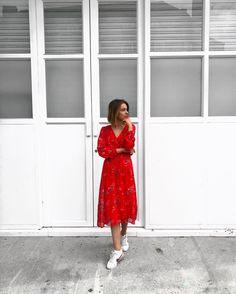 Monday Morning Style. #Red #Ruffle #Dress