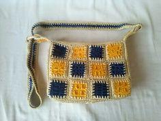 Bolso cuero patchwork azul y amarillo