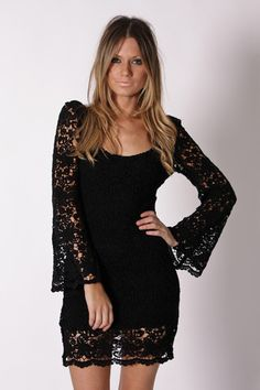 alba lace tunic dress- black