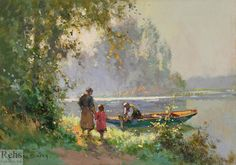 Edouard Leon Cortes (1882 - 1969) Returning Home Oil on canvas 13 x 18 inches…