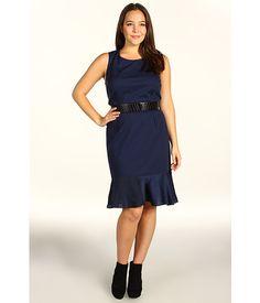DKNYC Plus Size Plus Size Sleeveless Dress w/ Lightweight Satin Flounce Ink - 6pm.com