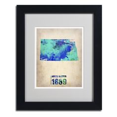 North Dakota Watercolor Map by Naxart Matted Framed Painting Print
