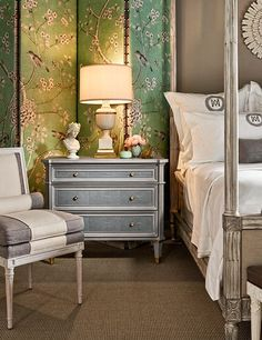 Mary McDonald channeled her love of French style & chinoiserie in the Madeleine chair, Chinois screen, Camille chest, & Antoinette bed for Guy Chaddock. Bedroom Green, Dream Bedroom, Home Bedroom, Bedroom Decor, Green Bedrooms, Beautiful Bedrooms, Beautiful Interiors, Chinoiserie, Mary Mcdonald