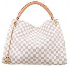 This classic Louis Vuitton shoulder bag is made from Damier Azur canvas with natural leather trim and golden brass hardware. Details include a woven handle, open top, and fully lined interior with six open pockets and one zippered pocket. Louis Vuitton Handbags 2017, Louis Vuitton Artsy Mm, Pre Owned Louis Vuitton, Authentic Louis Vuitton, Louis Vuitton Damier, Purses And Handbags, Leather Handbags, Blue Handbags, Canvas Handbags