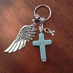 Christian Keychain Keychain Cancer Awareness by DorysBoutique