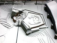 Portland's Lovejoy Fountain by Lawrence Halprin. In the snow... (Looks like a scale model.)