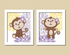 Floral Monkey Baby Girl Nursery Art Lavender Purple Gray Grey Yellow Set of 2 Prints Baby Girl Decor Twins Nursery Decor Wall Art Picture