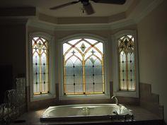 stained glass bathroom window | Custom Leaded Glass Bathroom Window by The Looking Glass | CustomMade ...