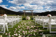 Outdoor wedding ceremony with pink rose petals in the aisle