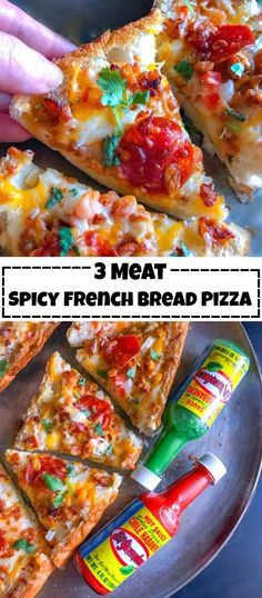 3 Meat Spicy French Bread Pizza: @ElYucateco #pizza #KingOfFlavor #CollectiveBias #bread #meat