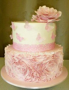 Rosettes and Butterflies Cake