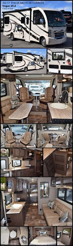 2017 Vegas 25.2 Class A Gas Motorhome by Thor Motor Coach. There's a new class of vehicle out there and we call it the Vegas RUV. The Vegas is a new recreational utility vehicle or RUV for short. This is the vehicle you've dreamed about, because it fits your life. It provides all the amenities that make traveling so great, in a compact, functional and fun way.