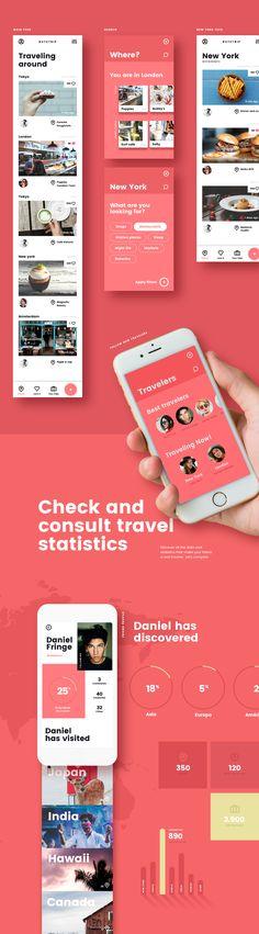 Routetrip - Travel APP on Behance Design Responsive, App Ui Design, User Interface Design, Application Ui Design, Mobile Application, Mobiles, Mobile Web Design, Music App, User Experience Design
