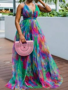 Ericdress Print V-Neck Floor-Length High Waist Color Block Women's Dress Summer Holiday Dresses, Sexy Summer Dresses, Sexy Dresses, Cute Dresses, Casual Dresses, Summer Maxi, Casual Summer, Fall Dresses, Cheap Dresses