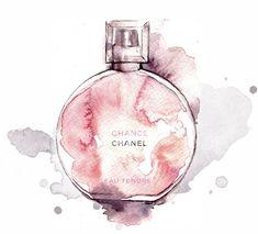 Chanel Chance Eau Tendre - Alessia Landi fashion illustration #perfume #watercolor - #Alessia #Chance #Chanel #Eau #Fashion #illustration #Landi #perfume #Tendre #Watercolor