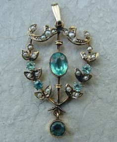 Victorian Blue Topaz and Seed Pearl Necklace.Circa 1880's