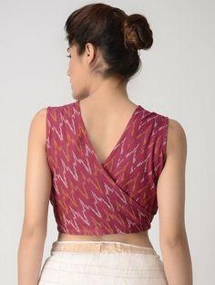 Pink-Ivory Front-open Cotton Ikat Blouse by Jaypore - Saree Jacket Designs, Cotton Saree Blouse Designs, Saree Blouse Patterns, Sari Design, Simple Blouse Designs, Stylish Blouse Design, Latest Blouse Designs, Designer Kurtis, Blouse En Coton