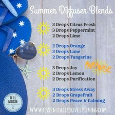Young Living Essential Oils: Diffuser for Summer Essential Oil Diffuser Blends, Doterra Essential Oils, Young Living Essential Oils, Doterra Oil, Yl Oils, Diffuser Recipes, Stress, Living Oils, Perfume
