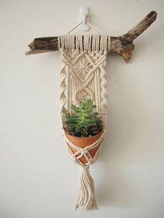 Macrame Plant Hanger Wall Hanging Fits Mini Pot Woven Indoor Vertical Garden Handmade Home Decor Interior Design Hanging Plants - MALUA This beautiful little hanging basket is handmade, with fine details and a magnificent tassel. Handmade Home, Macrame Plant Hangers, Crochet Plant Hanger, Macrame Hanging Planter, Macrame Design, Macrame Art, Macrame Knots, Micro Macrame, Macrame Projects