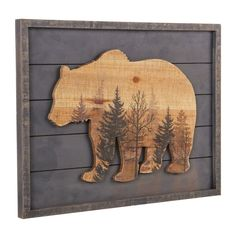 Rustic Wall Art Loon Peak Rustic Wood Grizzly Bear Wall Décor Your Mattress – No Piece Of Furniture Wooden Wall Decor, Rustic Wall Art, Rustic Walls, Wooden Walls, Wood Art, Mdf Wood, Rustic Artwork, Rustic Painting, Tree Wall Decor