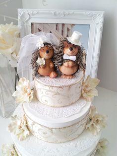 for Allison-lovely hedgehog wedding cake topper by MissRoseDanae on Etsy, $39.00