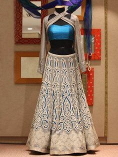 fc18d66b6c Grey Silk Lehenga Choli With Handwork Silk Lehenga