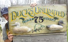 """DU hand painted """"rare & unique faux antique"""" sign-by Zeke Antler Lamp, Man Crafts, Duck Decoys, Antique Signs, Easy Jobs, Duck Hunting, Antlers, Ducks, Mud"""