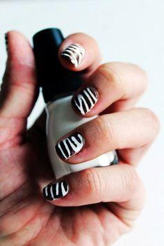 Nail Stencils- Zebra #zebra #nails #christmas www.loveitsomuch.com Zebra Print Nails, Nail Stencils, Christmas, Xmas, Navidad, Noel, Natal, Kerst