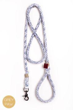 Rope dog leash pet supplies dog collar dog lead: Medium marbled navy cotton blend rope leash