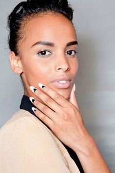 Two Tone Mani at Tracy Reese - The Best Spring 2013 Nail Trends to Try Now #nails #mani #beauty #ideas #cute #trends #runway #makeup
