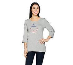Quacker Factory Stars & Stripes Anchor's Away 3/4 Sleeve T-shirt