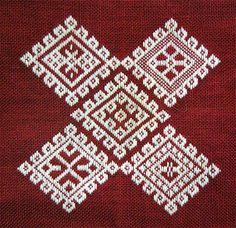 Petit sampler moderne de motifs de Kogin acheté à une brodeuse d'Aomori