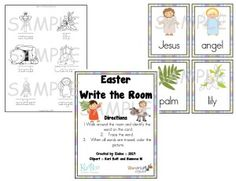 Easter Write-the-Room - This is a Christian version for little ones that are learning to write (trace words).  There's also a script to describe each image (symbol) to the kids.