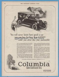 1923 Columbia Motors Co Detroit MI Specialized Six open car vintage print ad