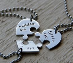 Hand stamped sister necklaces, three sisters, heart puzzle, at https://www.etsy.com/listing/251072978/sister-necklace-three-piece-heart-jigsaw