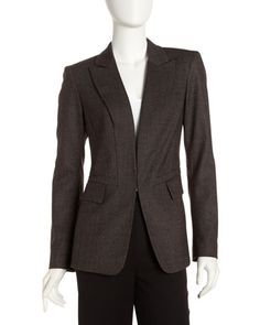 Zachary Woven Jacket by Lafayette 148 New York at Last Call by Neiman Marcus.      Woven pindot.     Peaked lapels; single hook front.     Long sleeves with button cuffs.     Flap pockets at waist.     Seams nip natural waist.     Cutaway front and vent at center back ease sweep.     Virgin wool/silk/spandex; dry clean.     Imported.