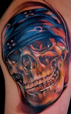 Biker skull tattoo design