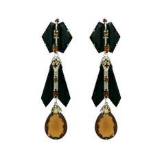 House of Schiaparelli Jet and Topaz Glass Long Ear Pendants
