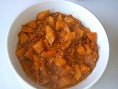 potimarron, lardons, tomate, poivron, oignon, ail, clou de girofle, curry, huile, Sel, Poivre