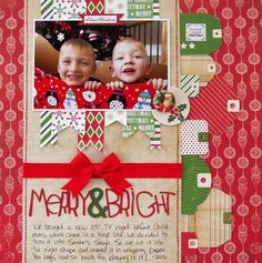 Merry & Bright  **My Creative Scrapbook** - Scrapbook.com - lots of tags and a bow make a layout look like a present.