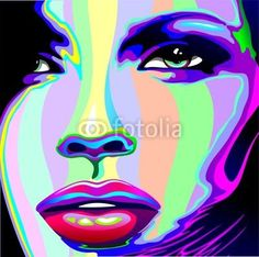 #Beautiful #Girl's #Portrait #Psychedelic #Rainbow-#Vector © bluedarkat #47472429 -     http://us.fotolia.com/id/47472429/partner/200929677