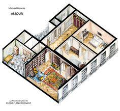 Watercolor isometric floor plan drawing of apartment in Michael Haneke's movie Amour https://www.facebook.com/floor.plan.croissant