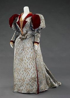 An instantly eye-catching, velvet adorned evening dress from 1893.