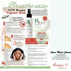 Good news! Annique just launched Resque Vapour Rub. This month FREE when you buy the Resque Mist. Extraordinary uses: Mosquito Repellent Cracked heals Nail fungus Cold sores Ear ache Pet Urine and Scratching detergent Sore Throat, Healthy Snack Bars, Blocked Nose, Pet Urine, Cold Sore, Nail Fungus, Good News, Vapour Rub, Products