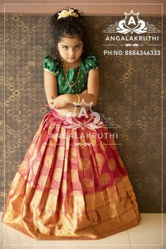 bangalore boutique pink and green pattu pavada for baby girl ethnic wear designs bangalore boutique indian traditional dress designs by angalakruthi custom designer boutique in bangalore pavadai sattai - Girls Frock Design, Baby Dress Design, Kids Frocks Design, Traditional Dresses For Kids, Traditional Dresses Designs, Kids Dress Wear, Kids Gown, Kids Wear, Kids Blouse Designs